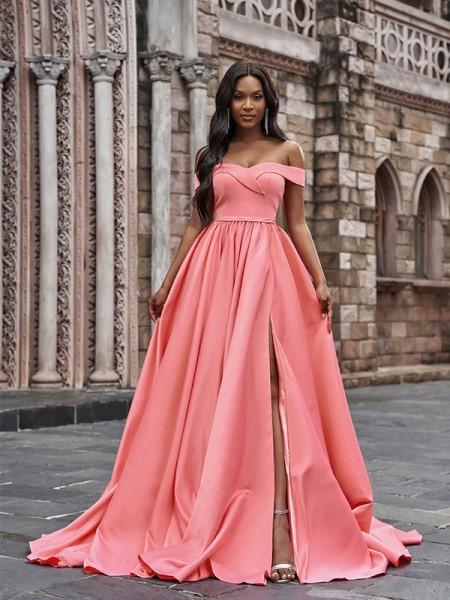 A-Line/Princess Satin Sleeveless Ruffles Off-the-Shoulder Court Train Dresses