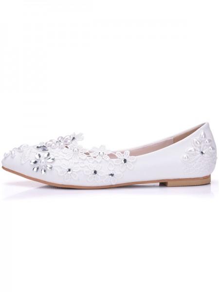 Women's PU Closed Toe Flat Heel With Flower Flat Shoes