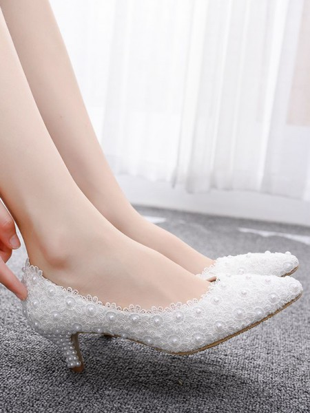 Women's PU With Beading Closed Toe Kitten Heel High Heels
