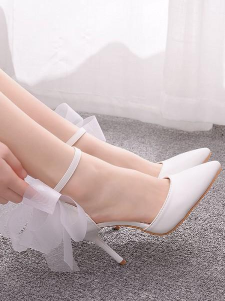 Women's PU Closed Toe With Bowknot Stiletto Heel High Heels