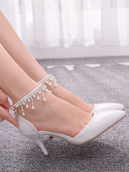 Women's PU Stiletto Heel Closed Toe With Beading High Heels