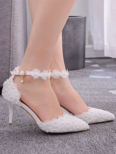 Women's PU Stiletto Heel Closed Toe With Flower High Heels