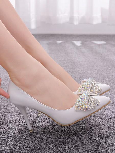 Women's PU Closed Toe With Rhinestone Stiletto Heel High Heels