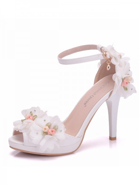 Women's PU Peep Toe With Flower Cone Heel Sandals