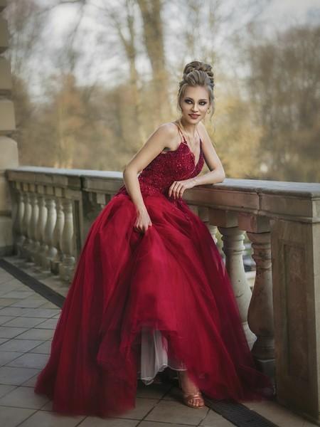 Ball Gown Tulle Spaghetti Straps Applique Sweep/Brush Train Sleeveless Dresses