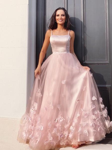 A-Line/Princess Tulle Hand-Made Flower Straps Floor-Length Sleeveless Dresses
