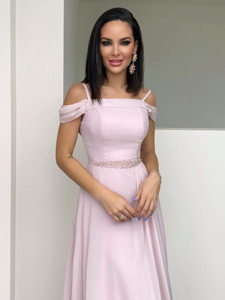 A-Line/Princess Chiffon Beading Straps Sleeveless Floor-Length Dresses