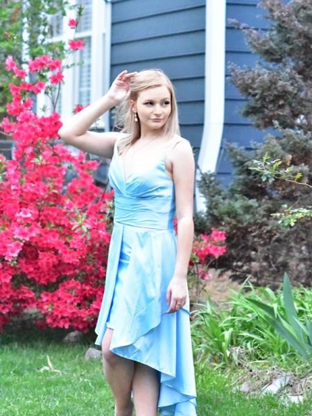 A-Line/Princess Sleeveless Ruffles Taffeta Spaghetti Straps High Low Dresses