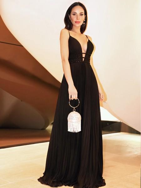 A-Line/Princess V-neck Ruffles Chiffon Sleeveless Floor-Length Dresses