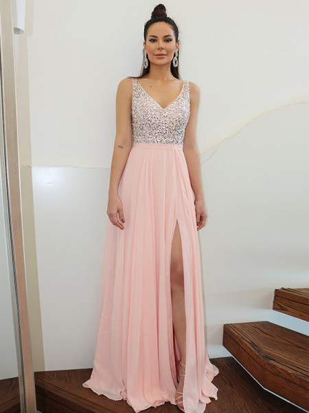 A-Line/Princess Straps Beading Sleeveless Chiffon Floor-Length Dresses