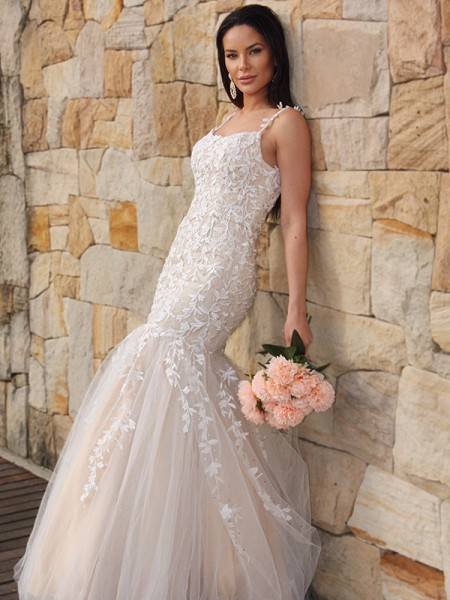 Trumpet/Mermaid Tulle Applique Sleeveless Spaghetti Straps Floor-Length Dresses