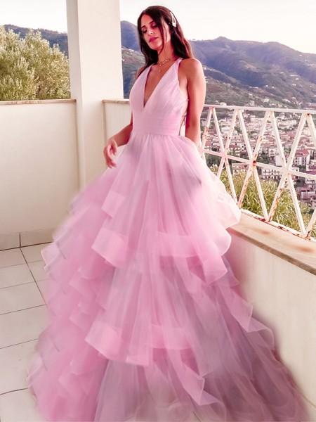 A-Line/Princess V-neck Ruffles Organza Sleeveless Floor-Length Dresses