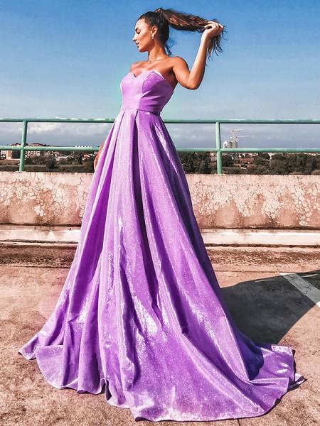 A-Line/Princess Sequins Ruffles Sweetheart Sleeveless Sweep/Brush Train Dresses