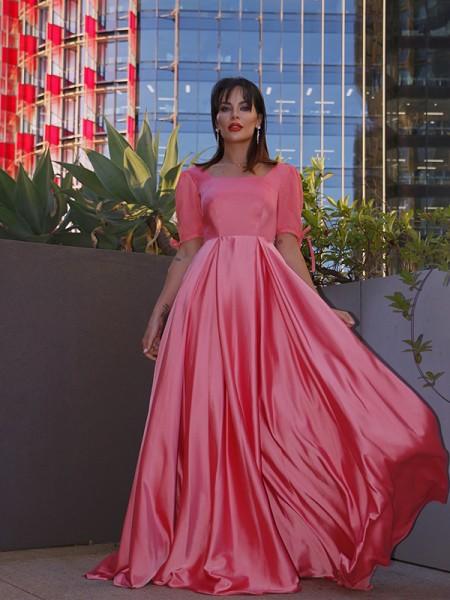 A-Line/Princess Square 1/2 Sleeves Charmeuse Ruffles Floor-Length Dresses