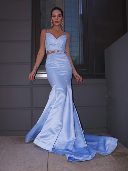 Trumpet/Mermaid Satin Lace V-neck Sleeveless Sweep/Brush Train Two Piece Dresses