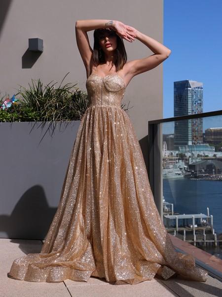 A-Line/Princess Spaghetti Straps Sequins Sleeveless Ruffles Sweep/Brush Train Dresses