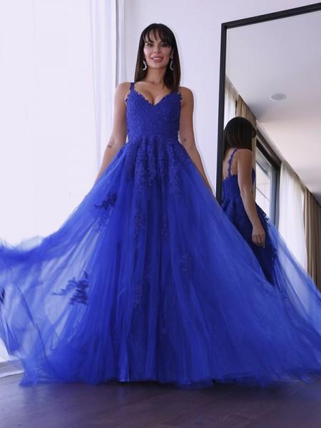 A-Line/Princess Tulle V-neck Sleeveless Applique Sweep/Brush Train Dresses