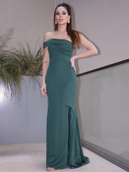 Sheath/Column Jersey Ruched Sleeveless One-Shoulder Sweep/Brush Train Dresses