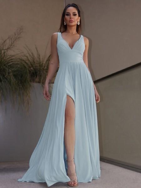 A-Line/Princess Ruffles Jersey V-neck Sleeveless Floor-Length Dresses
