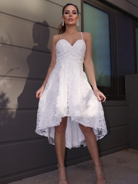 A-Line/Princess Sweetheart Lace Ruffles Sleeveless Asymmetrical Homecoming Dresses