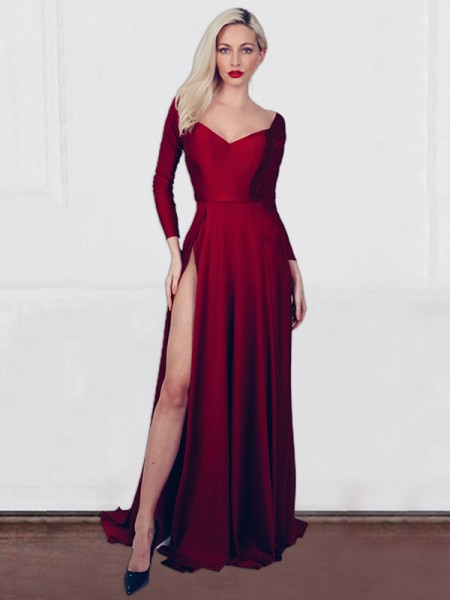 A-Line/Princess Jersey Ruched V-neck Long Sleeves Sweep/Brush Train Dresses