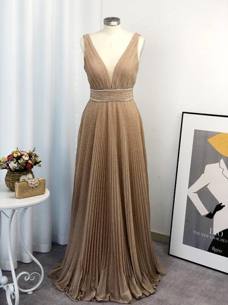 A-Line/Princess V-neck Ruffles Sleeveless Floor-Length Dresses