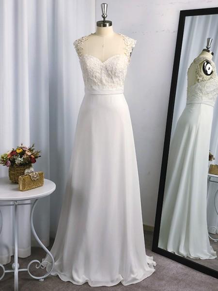 A-Line/Princess Floor-Length Applique Sleeveless Chiffon Sweetheart Dresses