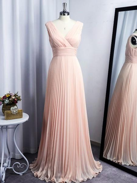 A-Line/Princess Chiffon V-neck Floor-Length Sleeveless Ruffles Dresses