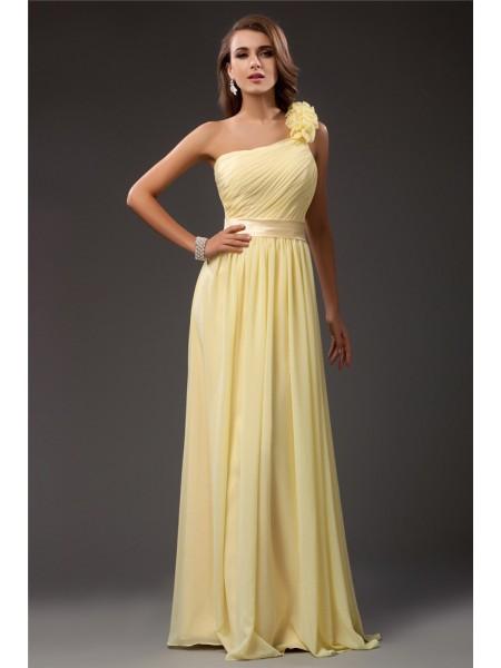 Sheath/Column One Shoulder Ruffles Long Sleeveless Chiffon Dresses