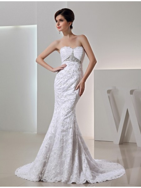 Trumpet/Mermaid Beading Sweetheart Sleeveless Long Taffeta Wedding Dresses