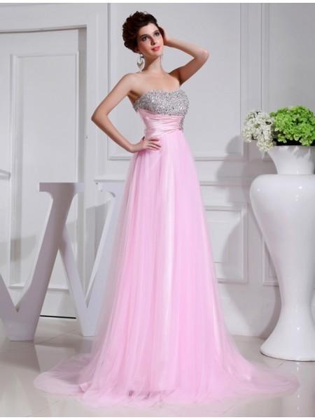 A-Line/Princess Beading Sleeveless Elastic Woven Satin Tulle Dresses