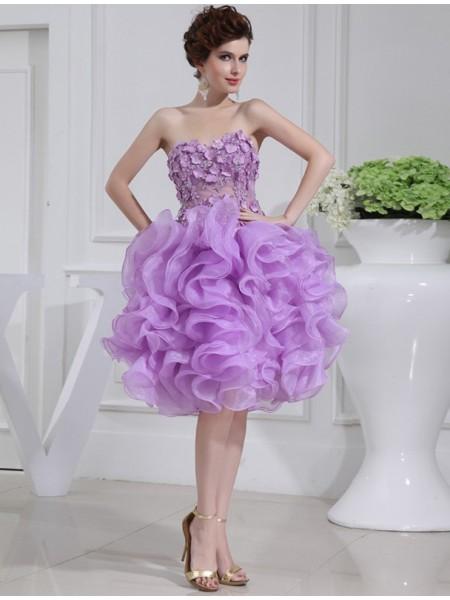 A-Line/Princess Beading Sweetheart Sleeveless Short Organza Cocktail Dresses