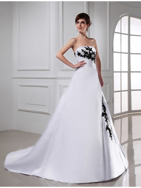 A-Line/Princess Beading Strapless Sleeveless Long Satin Wedding Dresses
