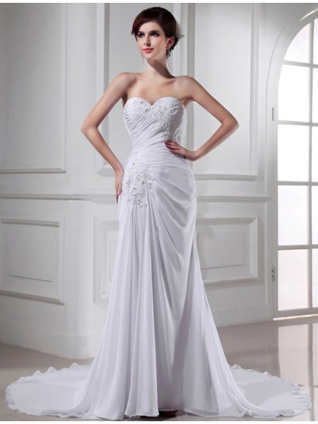 Trumpet/Mermaid Beading Sweetheart Sleeveless Chiffon Long Wedding Dresses