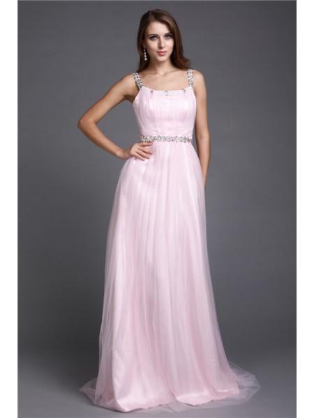 A-Line/Princess Spaghetti Straps Rhinestone Sleeveless Long Net Dresses