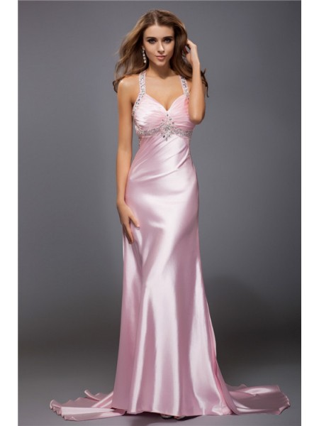 Sheath/Column Spaghetti Straps Beading Sleeveless Long Elastic Woven Satin Dresses