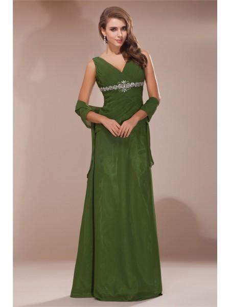 Sheath/Column V-neck Sleeveless Beading Long Chiffon Mother of the Bride Dresses