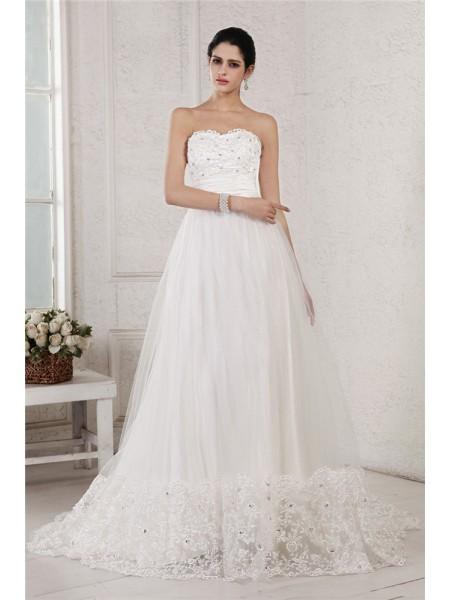 A-Line/Princess Sweetheart Sleeveless Beading Applique Long Net Wedding Dresses