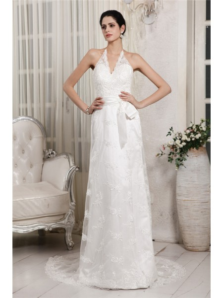 Sheath/Column V-neck Sleeveless Lace Applique Long Net Wedding Dresses