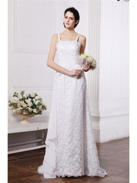Sheath/Column Square Neck Sleeveless Ruffles Ruched Long Chiffon Net Wedding Dresses