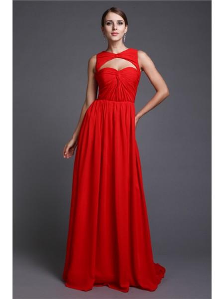 A-Line/Princess Long Sleeveless Ruffles Chiffon Dresses