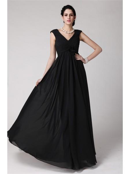 Sheath/Column V-neck Sleeveless Pleats Long Chiffon Dresses