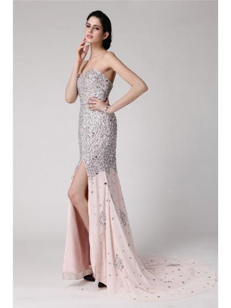 Trumpet/Mermaid Sweetheart Sleeveless Beading Rhinestone Long Chiffon Dresses