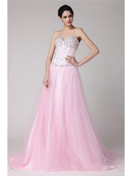 A-Line/Princess Sweetheart Sleeveless Beading Long Elastic Woven Satin Net Dresses