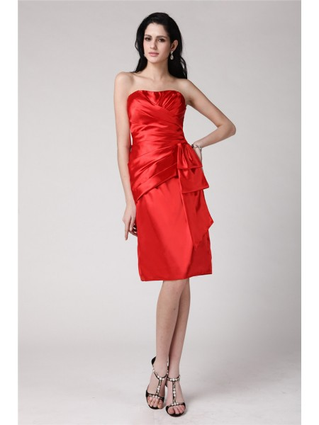 Sheath/Column Strapless Sleeveless Pleats Short Elastic Woven Satin Cocktail Dresses