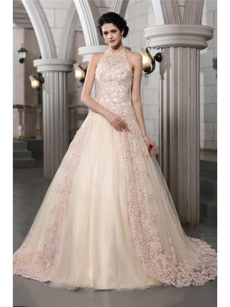 A-Line/Princess High Neck Sleeveless Beading Applique Long Net Wedding Dresses