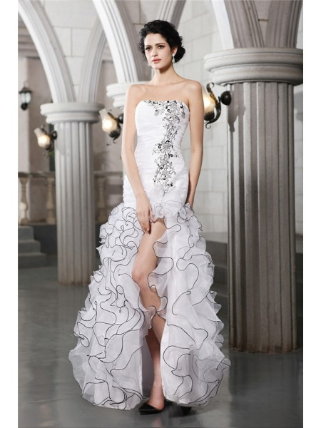Sheath/Column Strapless Sleeveless Beading Long Organza Wedding Dresses