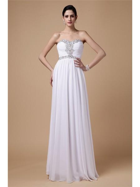 Sheath/Column Strapless Sleeveless Beading Pleats Long Chiffon Dresses