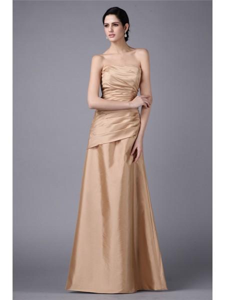 Sheath/Column Strapless Sleeveless Pleats Long Taffeta Dresses