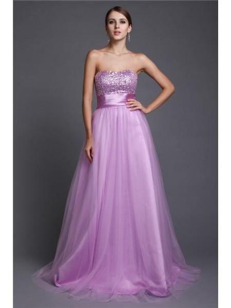 A-Line/Princess Strapless Sleeveless Beading Long Net Dresses